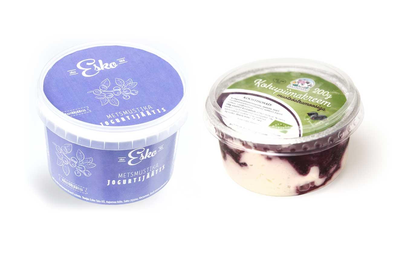 Esko Talu OÜ mustika-jogurtijäätis ja Saidafarm OÜ kohupiimakreem mustsõstramoosiga.